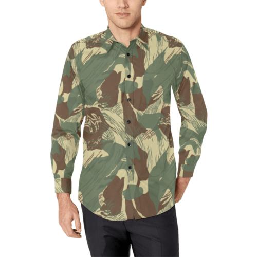 Rhodesian Bush Brushstroke Camouflage Men's Casual Dress Shirt