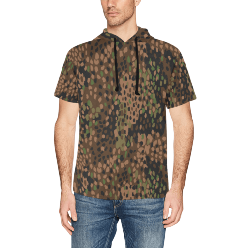 pea dot 44 camouflage Short Sleeve Hoodie for Men