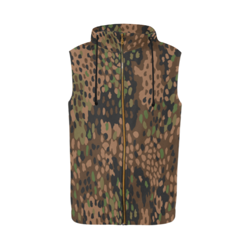 pea dot 44 camouflage Sleeveless Zip Up Hoodie for Men