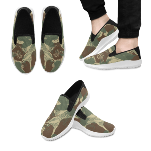 Rhodesian Brushstrokes Camouflage V2 Slip-on Men's Canvas Sneakers
