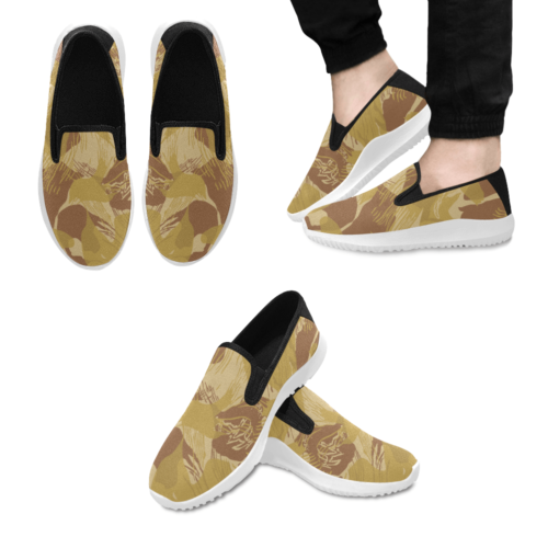 Rhodesian Brushstroke experimental Desert Camouflage Slip-on Men's Canvas Sneakers