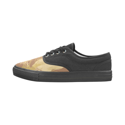 Rhodesian Brushstroke experimental Desert Camouflage Bicolor Men's Canvas Shoes