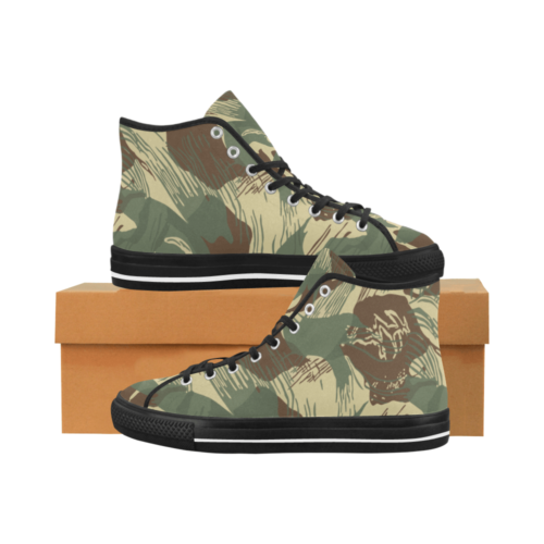 Rhodesian Brushstroke experimental Desert Camouflage Black Camoverse Men's Canvas Shoes (1013-1)