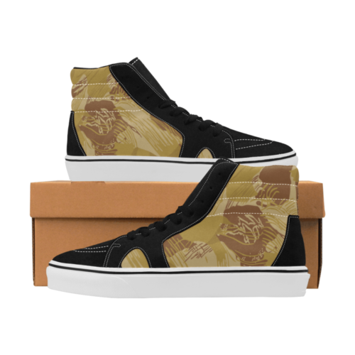 Rhodesian Brushstroke experimental Desert Camouflage Men's High Top Skateboarding Shoes