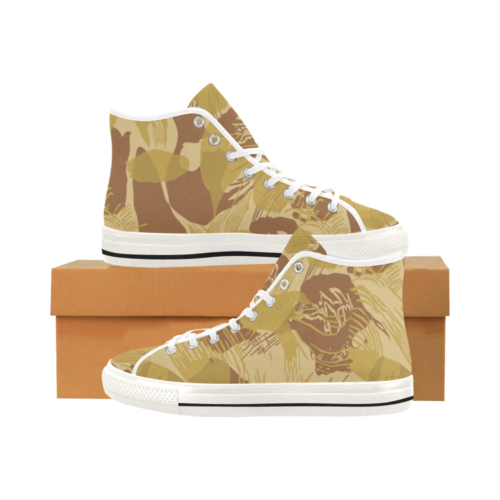 Rhodesian Brushstroke experimental Desert Camouflage White Camoverse Men's Canvas Shoes
