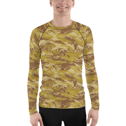 Fictional Rhodesian Desert tigerstripes camouflage Men's Rash Guard