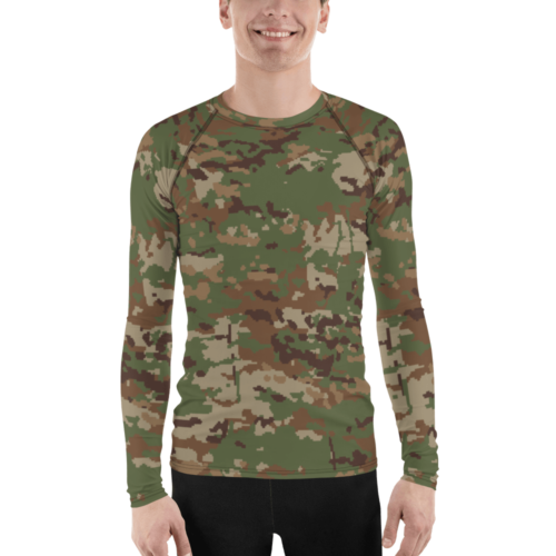 Spanish M09 Ejercito pixelado boscoso Digital Multicamo Men's Rash Guard