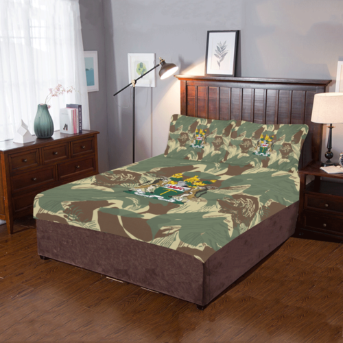 Rhodesian Coat of arms on Brushstrokes Camouflage 3-Piece Bedding Set