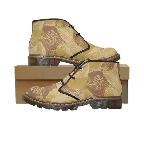 Rhodesian Brushstroke experimental Desert Camouflage Men's Canvas Martin Chukka Boots